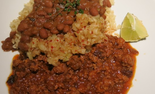 Mojo with Beans and Picadillo