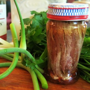 Anchovies and Garlic Scapes