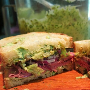 Roast Beef, Red Onion, Avocado Sandwich with The Goddess's Green Goddess