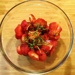 Strawberries with Basil and Mint in a Salad