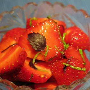 Strawberries with Basil and Mint for Dessert