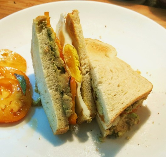 Avocado, Fried Egg and Tomato Sandwich