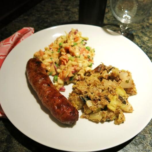 Sweet Mustard Summer Slaw, Libbey's Hunter Sauasage Grilled, Grilled Potato Salad