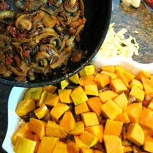 Cubed Winter Squash, Crumbled Bleu Cheese and Parmesan with Sautéed Onion-Mushroom Mixture and Shredded Fontina Cheese