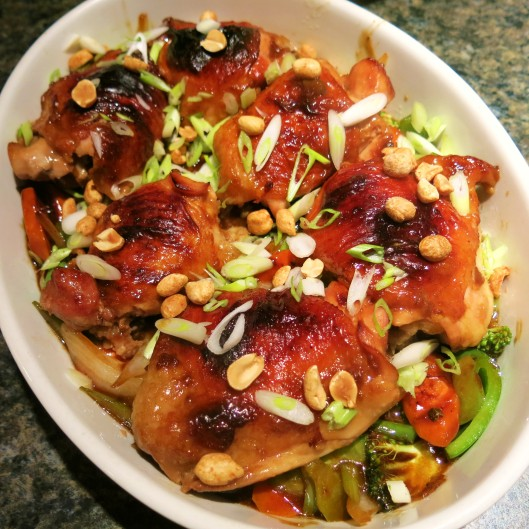 Roasted Kung Pao Chicken Thighs with Stir-Fry Vegetables
