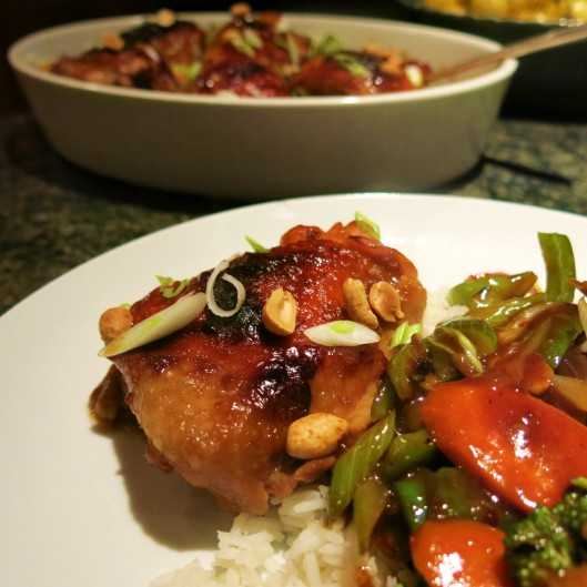 Roasted Kung Pao Chicken Thighs with Stir-Fry Vegetables and Ginger Rice