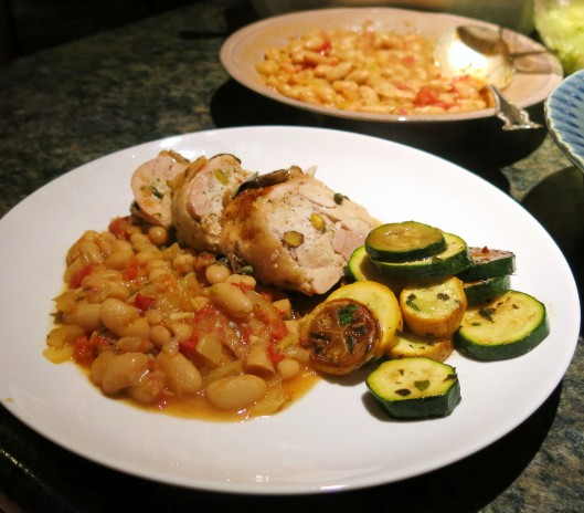 Tuscan-Style White Beans, Zucchini with Tuscan Stuffed Chicken Quarters