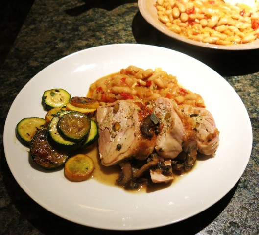 Stuffed Tuscan Chicken Quarters with Mushroom-Shallot Wine Sauce, Tuscan White Beans and Sautéd Zucchini