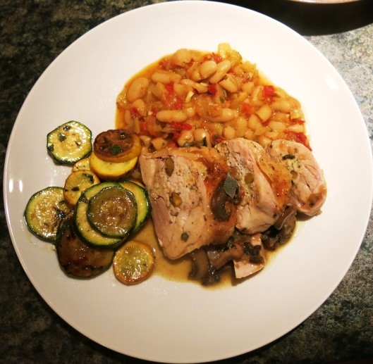 Stuffed Tuscan Chicken Quarters with Tuscan White Beans and Zucchini