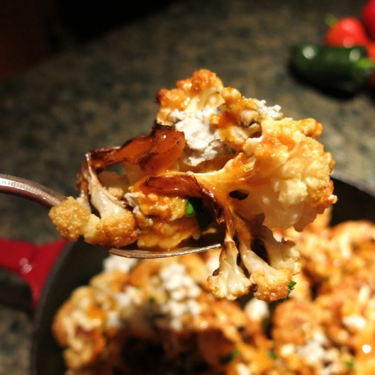 Roasted Caulflower with Bleu Cheese and Buffalo Sauce