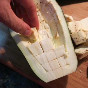 Removing the Flesh from Eggplant