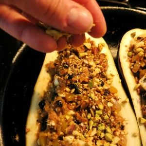 Eggplants with Chorizo Stuffing and a Sprinkle of Chopped Pistachios