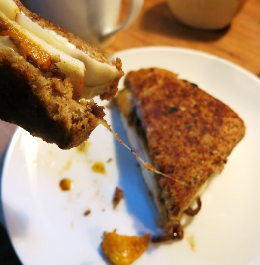 Grilled Roasted Butternut Squash, Apple with Bleu Cheese Sandwich