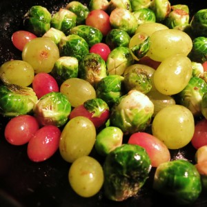 Roasted Brussels Sprouts & Grapes