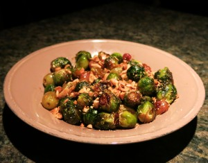 Roasted Brussels Sprouts with Grapes and Toasted Marcona Almonds