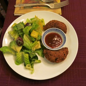 Salad with Risoles and Guava Dipping Sauce