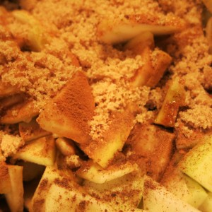 Sliced Apples with Brown Sugar and Spices for Pie Filling