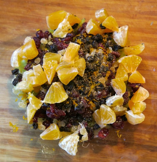 Dried Fruit and Seasonings for Winter Wonderland Chicken Salad