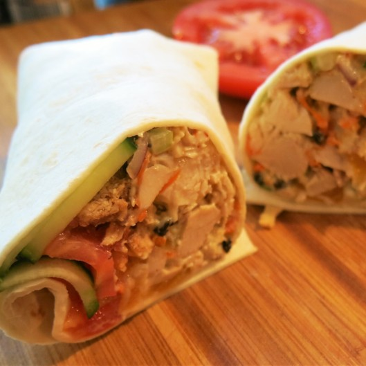 Winter Wonderland Chicken Salad Wrap with Cucumbers and Tomatoes