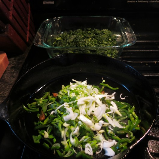 Poblanos, Spring Vidalia Onions, Garlic and Spinach
