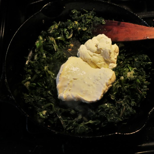 "Spinach, Poblano, Onion with Béchamel to make Green-with-Envy Eggs and ""Ham"""