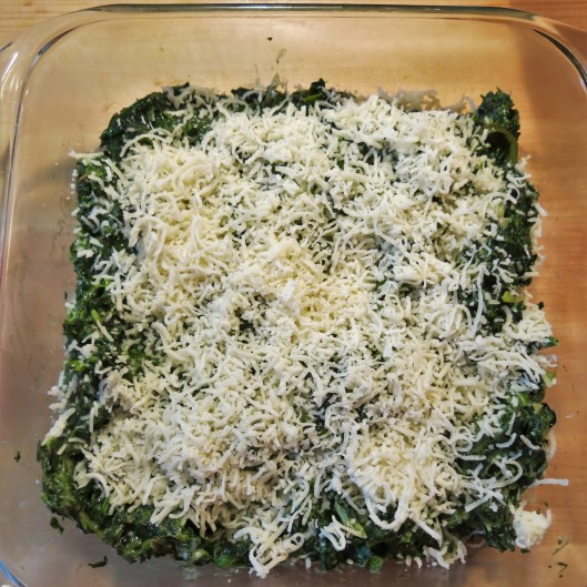 "Spinach, Poblano, Onion with Béchamel and Cheese to make Green-with-Envy Eggs and ""Ham"""