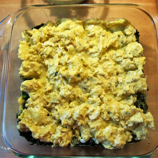 "Scrambled Eggs on top of half the Spinach mixture for Green-with-Envy Eggs and ""Ham"""
