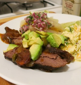 Cuban-Style Pot Roast, with Tropical Slaw, Yuca con Mojo and Avocado