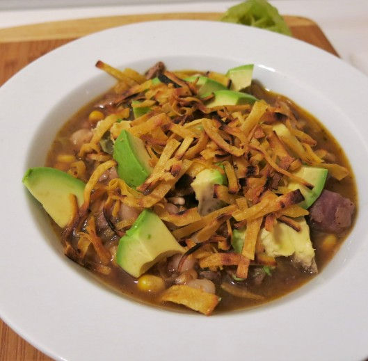 Pork with Hominy, Hatch Chiles and Tortilla Strips