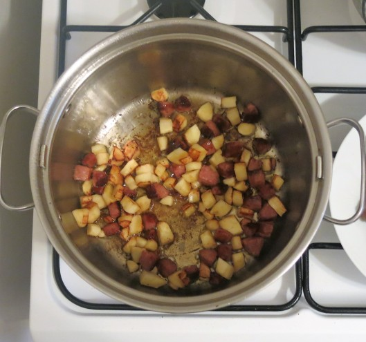 Parsnips & Kielbasa Sautéing for Before-The-Storm Soup