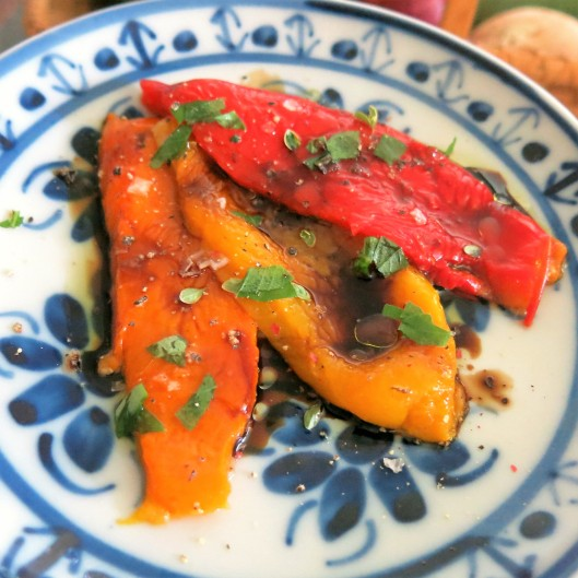 Roasted Pepper Salad with Fresh Herbs, Oil and Balsamic Vinegar
