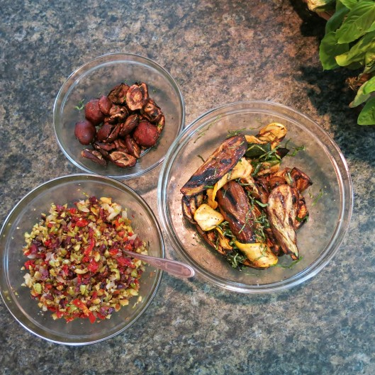 Roasted Zucchini, Eggplant and Mushrooms with Olive Salad for Muffaletta
