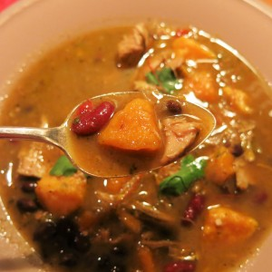 Sweet Potato-Black Bean Soup with Turkey