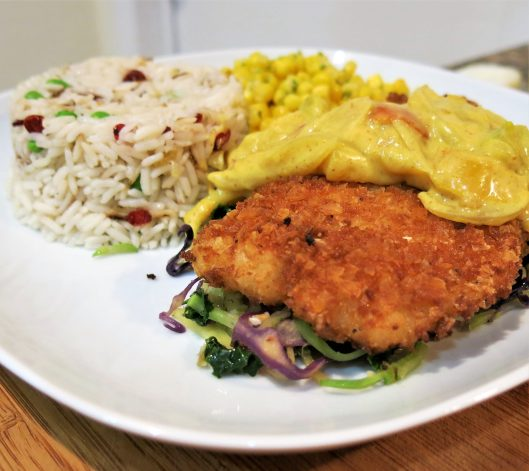 Plantain Chip-Crusted Fish Fillets with Curry Sauce