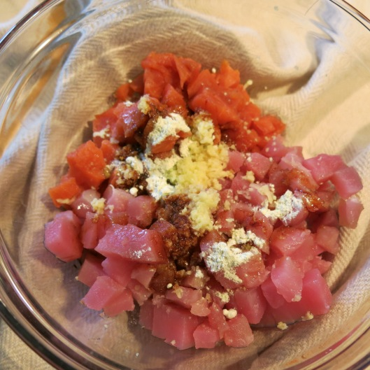 Diced Salmon & Tuna with Seasonings
