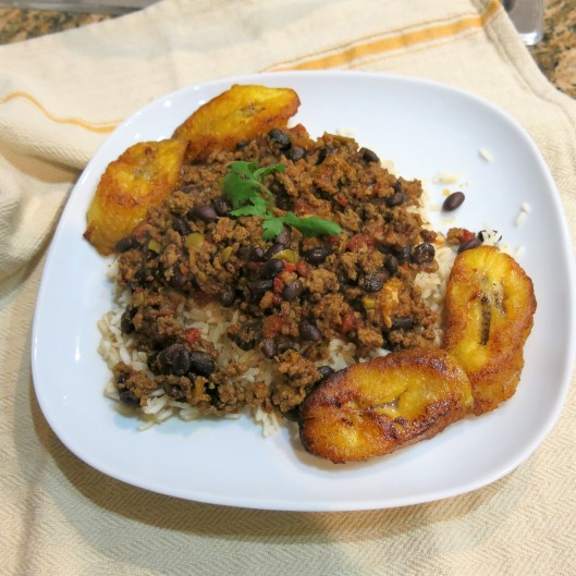 Picadillo with Black Beans and Ripe Plantains
