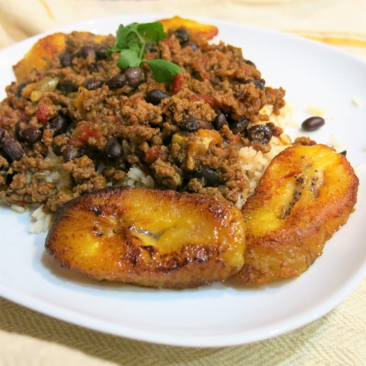 Picadillo with Black Beans on Rice with Ripe Plaintains on the Side