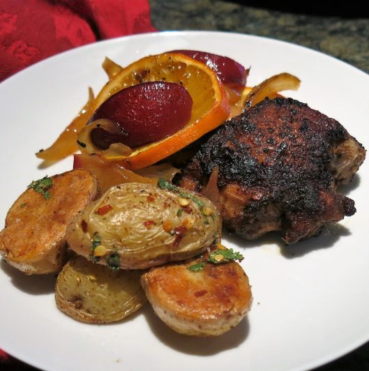 Spiced Persian Chicken with Citrus & Plums with Sichuan Roasted Potatoes