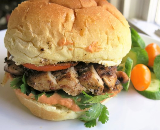 Indo-Persian Chicken Sandwich with Salsa Cremosa