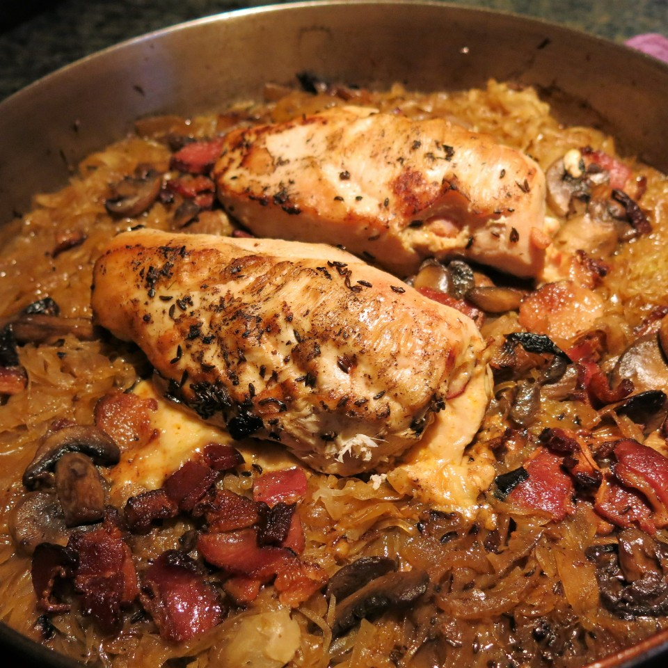 Czech-German Sauerkraut with Rhineland Stuffed Chicken Breasts