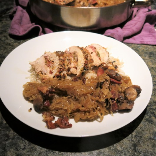 Rhineland Stuffed Chicken Breasts with Czech-German Sauerkraut