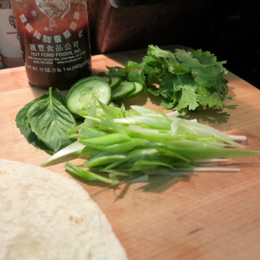 Scallions, Thai Basil Cilantro and Cucumber forChinese BBQ Pork-Peanut Butter-Hoisin Wrap