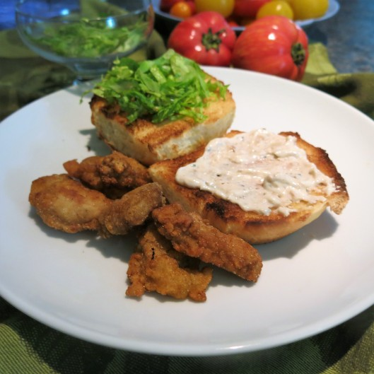 Creamy Horseradish, Roasted Garlic and Honey Sauce on Fried Oyster Po' Boy