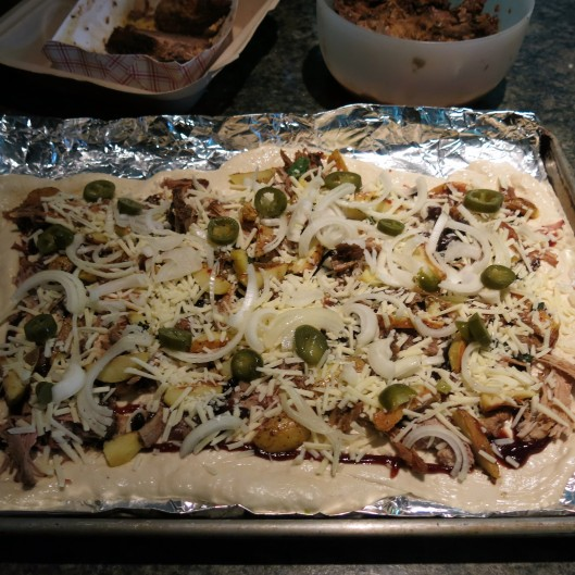 BBQ Pizza with Potatoes, Onions, Cheese and Slaw