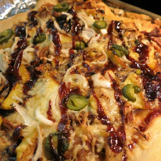 BBQ Pizza with Potatoes, Onions, Cheese