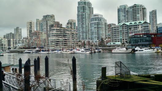 Looking back at Vancouver from Granville Island - Chinatown Market in Vancouver, BC, Canada