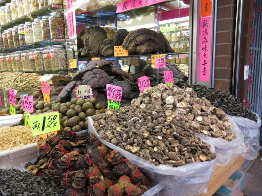 Dried Mushrooms in Chinatown Market in Vancouver, BC, Canada