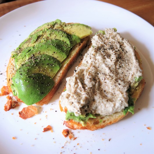 Tuna-Caper Mousse on Toast with Avocado Slices