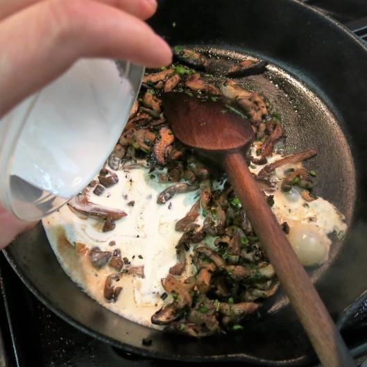 Wild Mushrooms with Cream, Marsala & Garlic Scapes