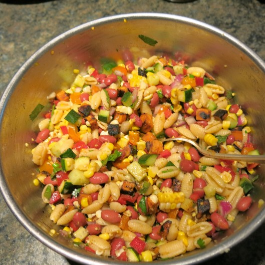 Summer Pasta-Bean Salad with Tomatoes, Corn and Avocado